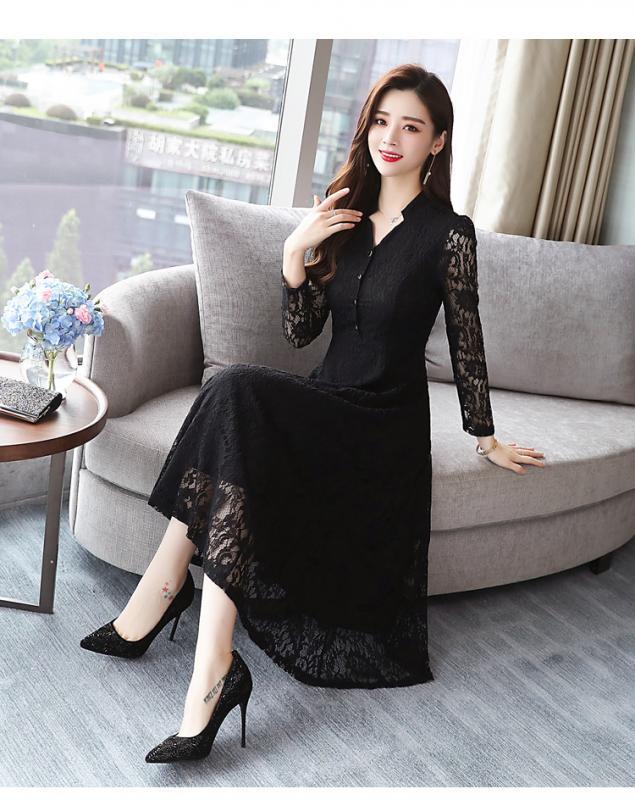 Black Net Inner Regular Sleeves Maxi Dress for Women