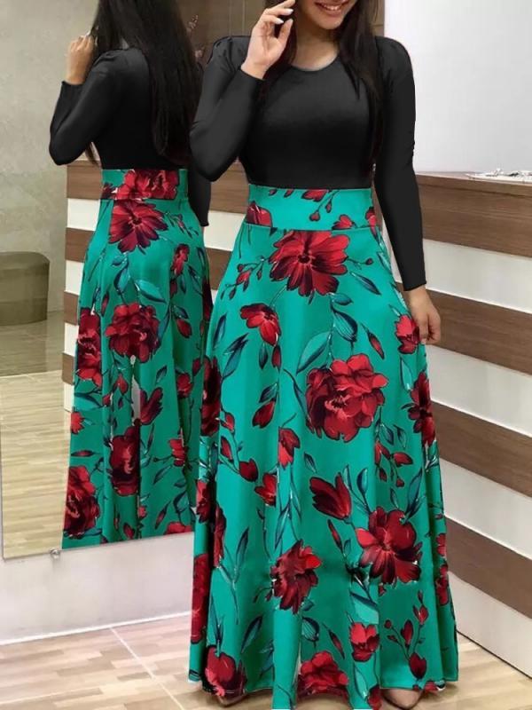 Printed Maxi Dress Full Sleeve Long Dress