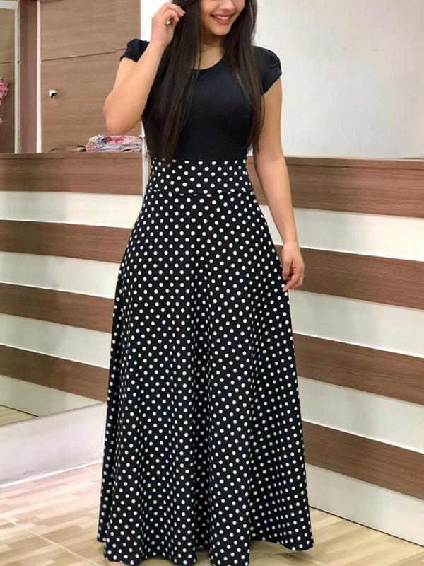 Printed Maxi Dress Half Sleeve Long Dress